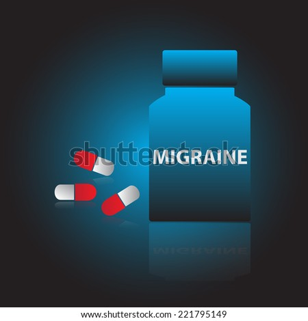 migraine drugs blue box and red pills eps10 - stock vector