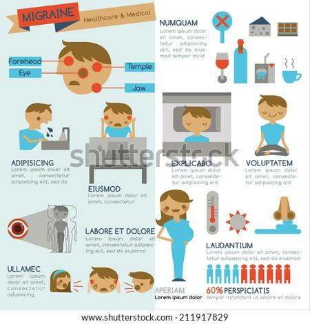 Migraine infographic  - stock vector