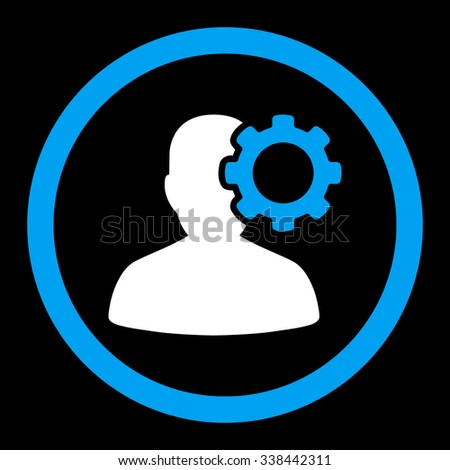 Migraine vector icon. Style is bicolor flat rounded symbol, blue and white colors, rounded angles, black background. - stock vector