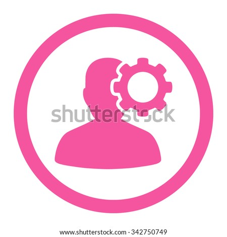 Migraine vector icon. Style is flat rounded symbol, pink color, rounded angles, white background. - stock vector