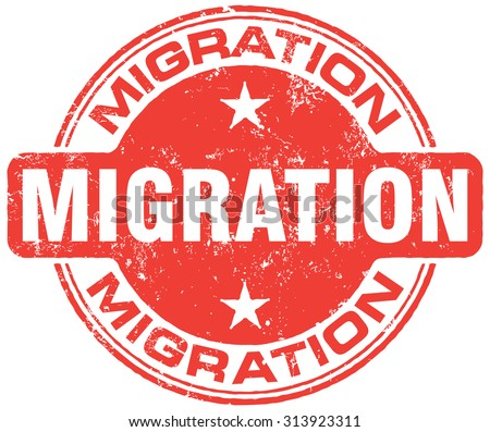 migration stamp - stock vector
