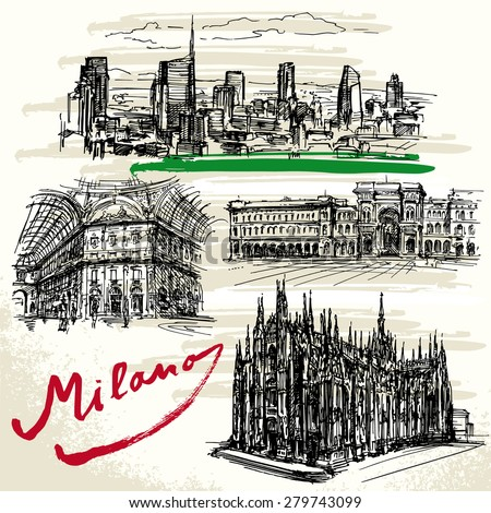 Milan - Italy - hand drawn set - stock vector
