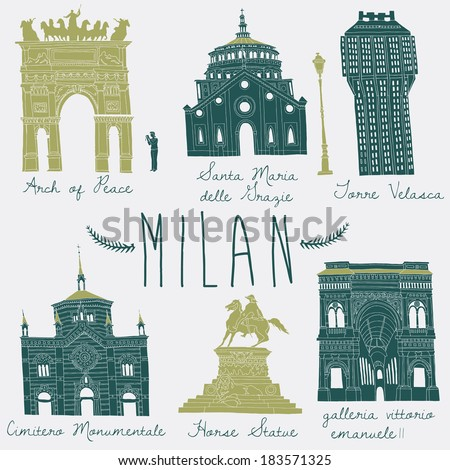 Milan landmarks and monuments - stock vector