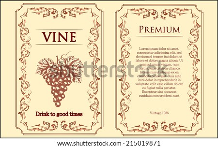 mild pink vine label with grapes vector illustration  - stock vector