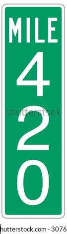 Mile 420 mile marker street sign. - stock vector