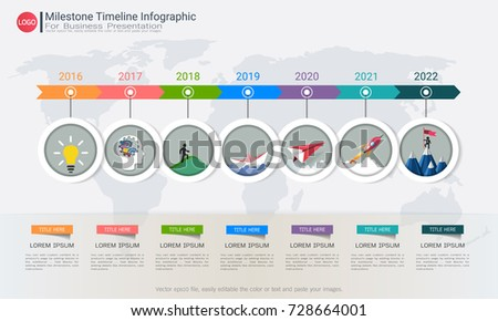 Milestone Timeline Infographic Design Road Map Stock Vector 728664001 Shutterstock
