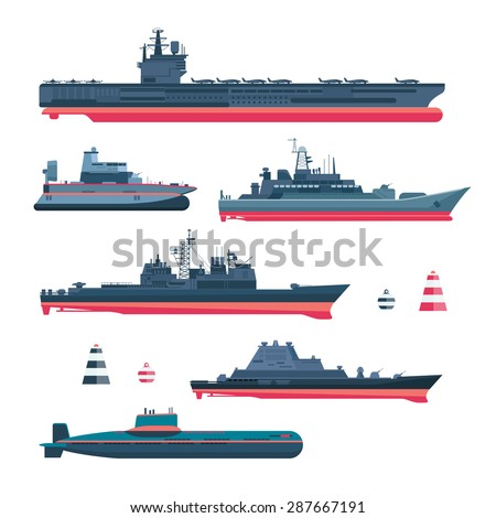 Militaristic ships icons set. Navy ammunition, warship and submarine, nuclear battleship, float and cruiser, trawler and gunboat, frigate and ferry, vector illustration - stock vector