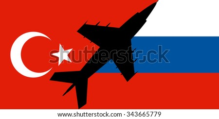 military aircraft against a background of Russian and Turkish flags - stock vector
