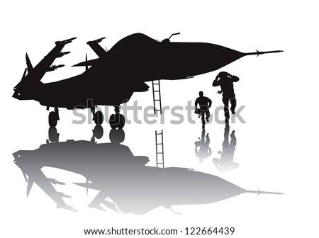 Military aircraft and running pilots vector silhouette with reflection - stock vector