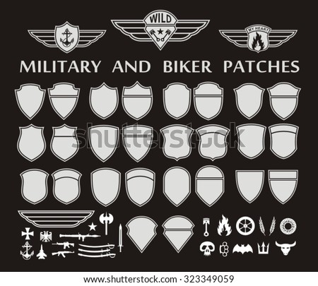 Military and biker patches with wings stock vector for Military patch template
