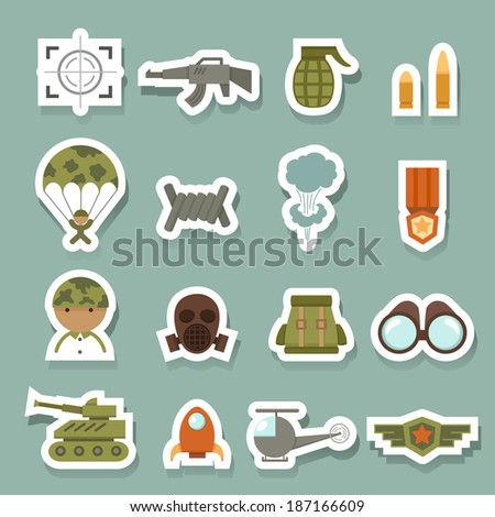 Military and war icons - stock vector