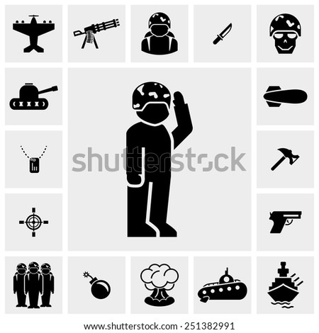 Military and war vector icons set on gray - stock vector