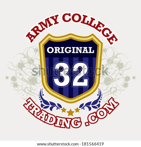 military / armed forces badges / Army College label - stock vector
