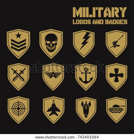 military army like badges white logos stock vector 742401064 rh shutterstock com army symbol pictures indian army logo pictures