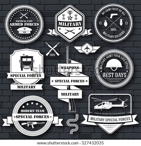 military army set label template of emblem element for your product, logo or design, web and mobile applications with text. Vector illustration with thin lines isolated icons on stamp symbol - stock vector