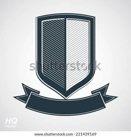 Military award icon. Vector grayscale defense shield with curvy ribbon, protection design graphic element. Heraldic illustration on security theme - retro coat of arms. - stock vector