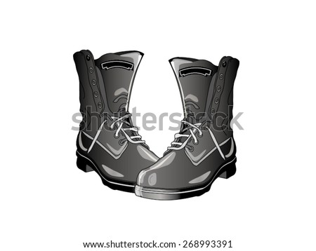 military boots vector illustration - stock vector