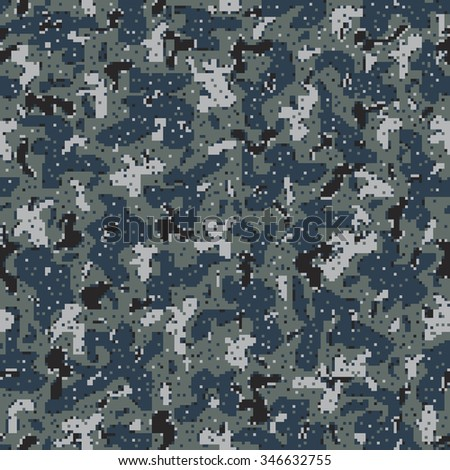 Military Camouflage Textile Seamless: USA, 2007, NWU-1 (Navy Working Uniform Type 1) Blueberries - Vector Illustration with Pattern in Swatches Panel - stock vector