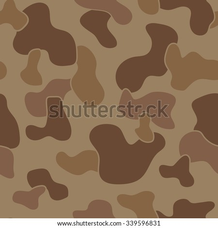 Military Camouflage Textile Seamless: USA, 1942s, Jungle Brown Dominant - Vector Illustration with Pattern in Swatches Panel - stock vector