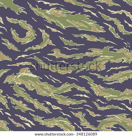 Military Camouflage Textile Seamless: USA, 1964-1975, Tiger Stripe Uniform - South Vietnam - Vector Illustration with Pattern in Swatches Panel - stock vector