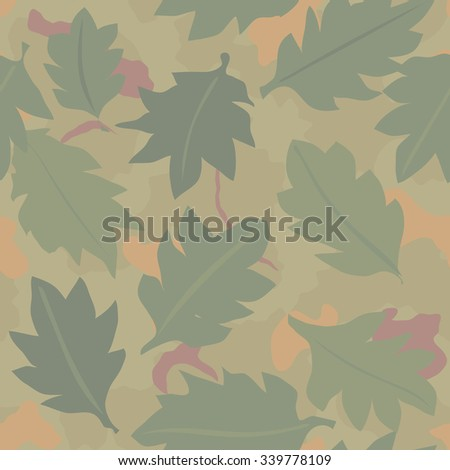 Military Camouflage Textile Seamless: USA, 1953, Wine Leaf - Vector Illustration with Pattern in Swatches Panel - stock vector