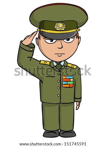 Military cartoon man in outfit salutes. Vector illustration.