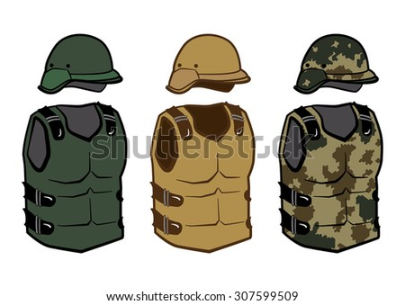 Military clothing protection vests camouflage body carbon armor and helmet for war isolated vector illustration - stock vector