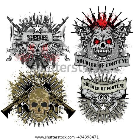 military coat of arms with skull, grunge.vintage design t-shirts