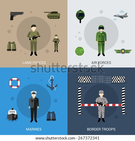 Military design concept set with land air marines forces and border troops flat icons isolated vector illustration - stock vector