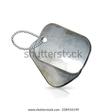 Military dog tags, old-style vector isolated - stock vector