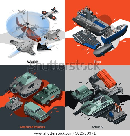 Military equipment design concept set with aviation fleet artillery isometric icons isolated vector illustration - stock vector