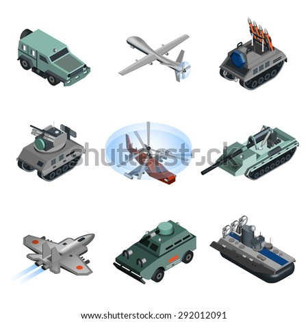 Military equipment isometric set with helicopter armored vehicle truck isolated vector illustration - stock vector