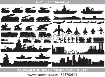 Military Equipment. Set Vector of Combat Air Force, Armored Vehicle, War Submarines, Civilian Buildings, Special Forces...