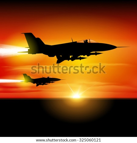 Military fighter jets isolated on background. Vector illustration - stock vector
