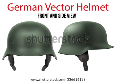 Military German green helmet of WW2. Metallic army symbol of defense. Vector illustration Isolated on white background.  - stock vector