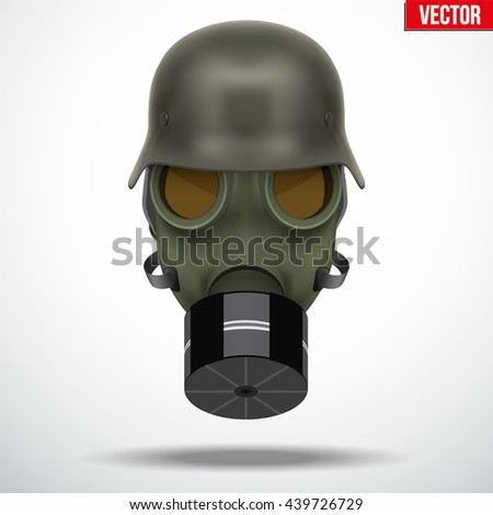 Military german helmet with gas mask. Army symbol WWII. Editable Vector illustration Isolated on white background. - stock vector