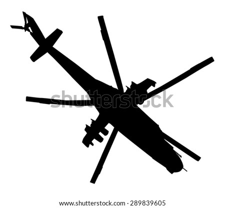 Military helicopter flying  vector silhouette - stock vector
