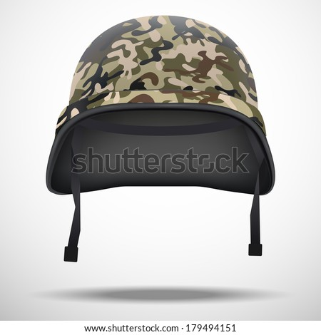 Military helmet with camouflage patterns. Vector illustration. Metallic army symbol of defense and protect. Isolated on white background. Editable. - stock vector