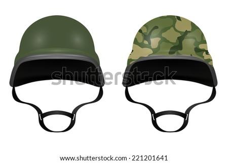 Military helmets isolated on white background. Vector illustration - stock vector