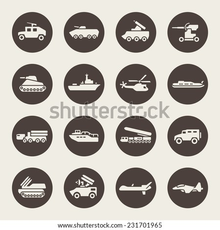 Military icon set - stock vector