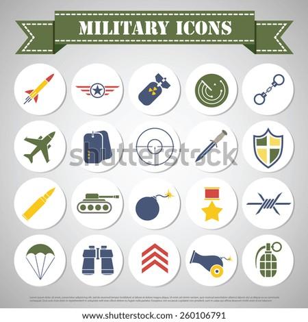 Military Icon set design - stock vector