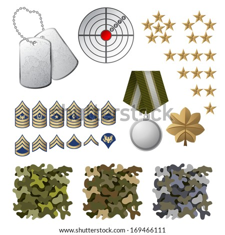 Military icons and design elements - stock vector