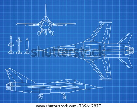 Military jet aircraft drawing vector blueprint stock vector military jet aircraft drawing vector blueprint design aircraft military plan blueprint illustration malvernweather Choice Image