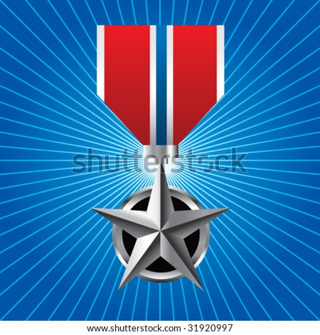 military medal on blue retro icon - stock vector