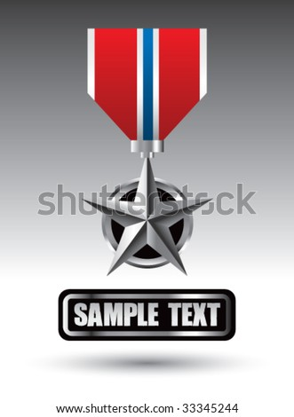 military medal on nameplate - stock vector