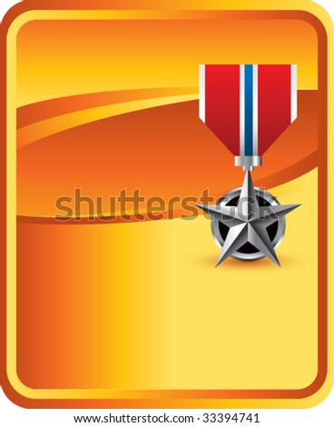 military medal on orange background - stock vector