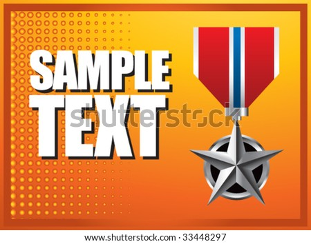 military medal on orange halftone banner - stock vector