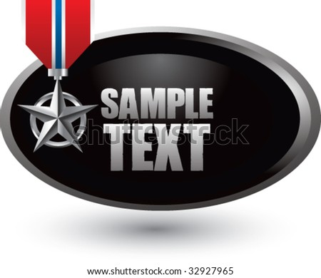 military medal on silver swoosh banner - stock vector