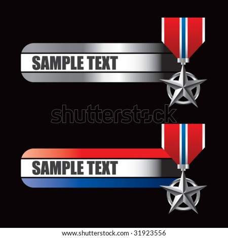 military medals on specialized banners - stock vector