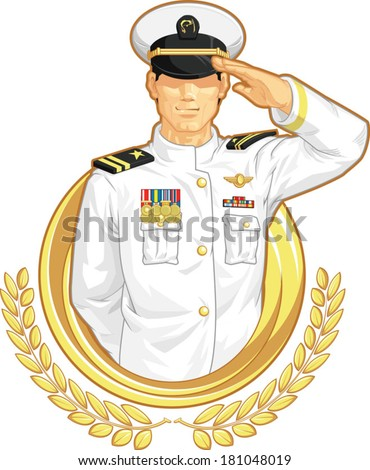 Military Officer in Salute Gesture - stock vector